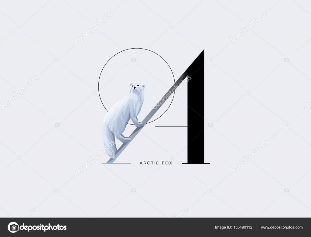 Letra A decorado con blanco zorro ártico — Archivo Imágenes ...