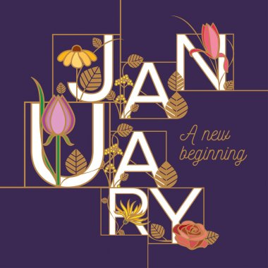 January typographic design in floral theme