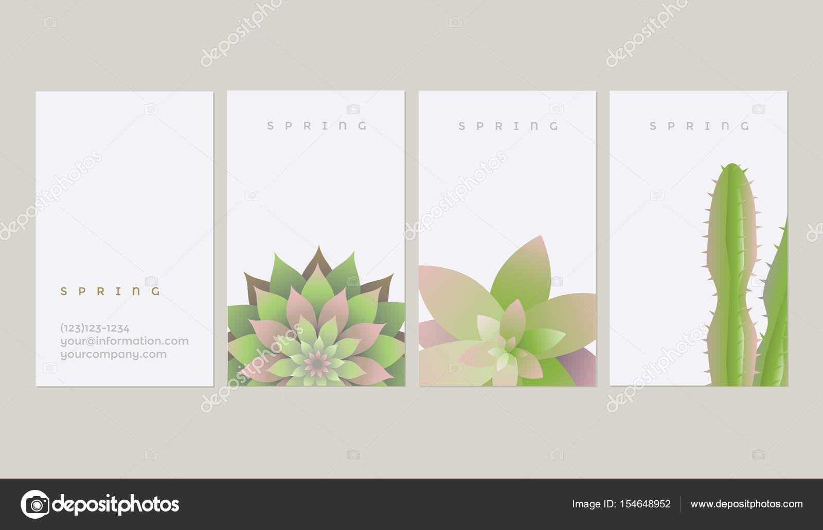 plantillas con plantas suculentas y cactus — Archivo Imágenes ...