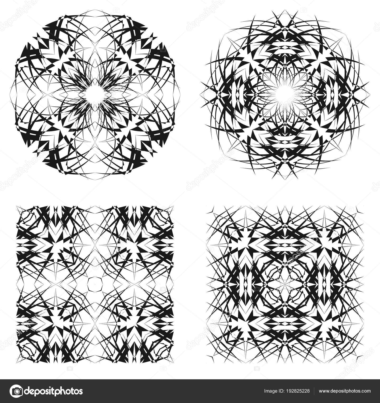 abstract circle square patterns creative geometric ornaments vector