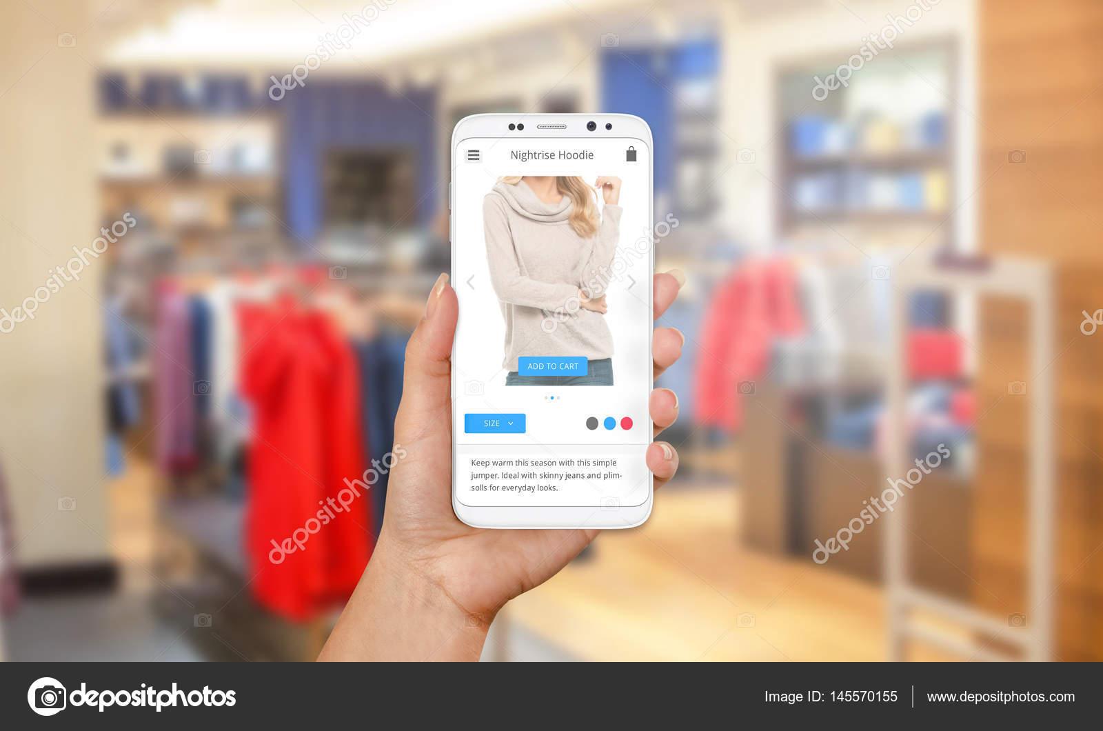 Nákup svetry a oblečení online s moderní mobilní telefon. Na víkend nebo  svátek prodeje. Obchod s oblečením app. moderní flat design v pozadí —  Fotografie ... d8d64e7e7c