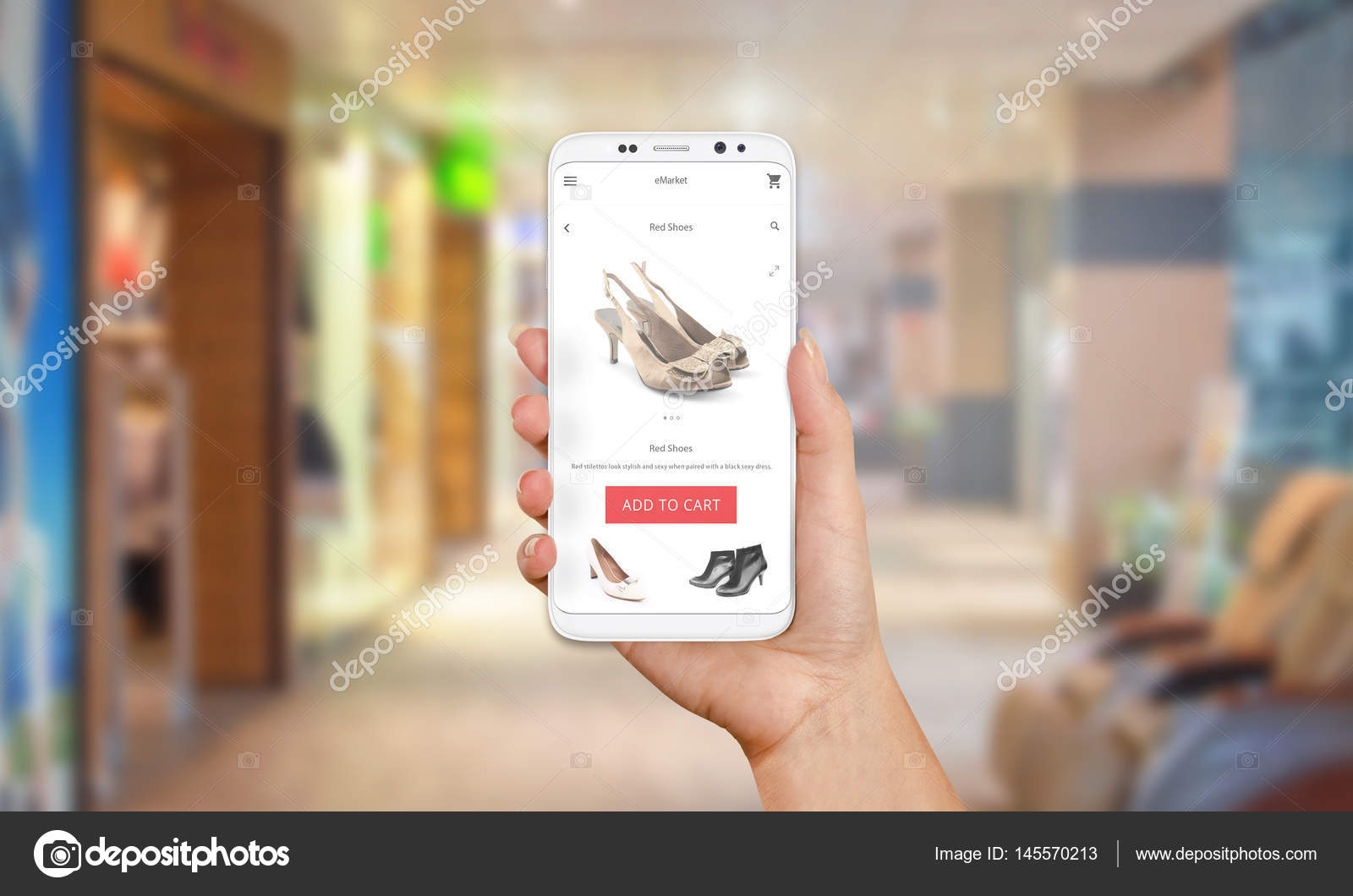 Online-Shop auf dem Handy-Display. Moderne weiße Smartphone mit ...