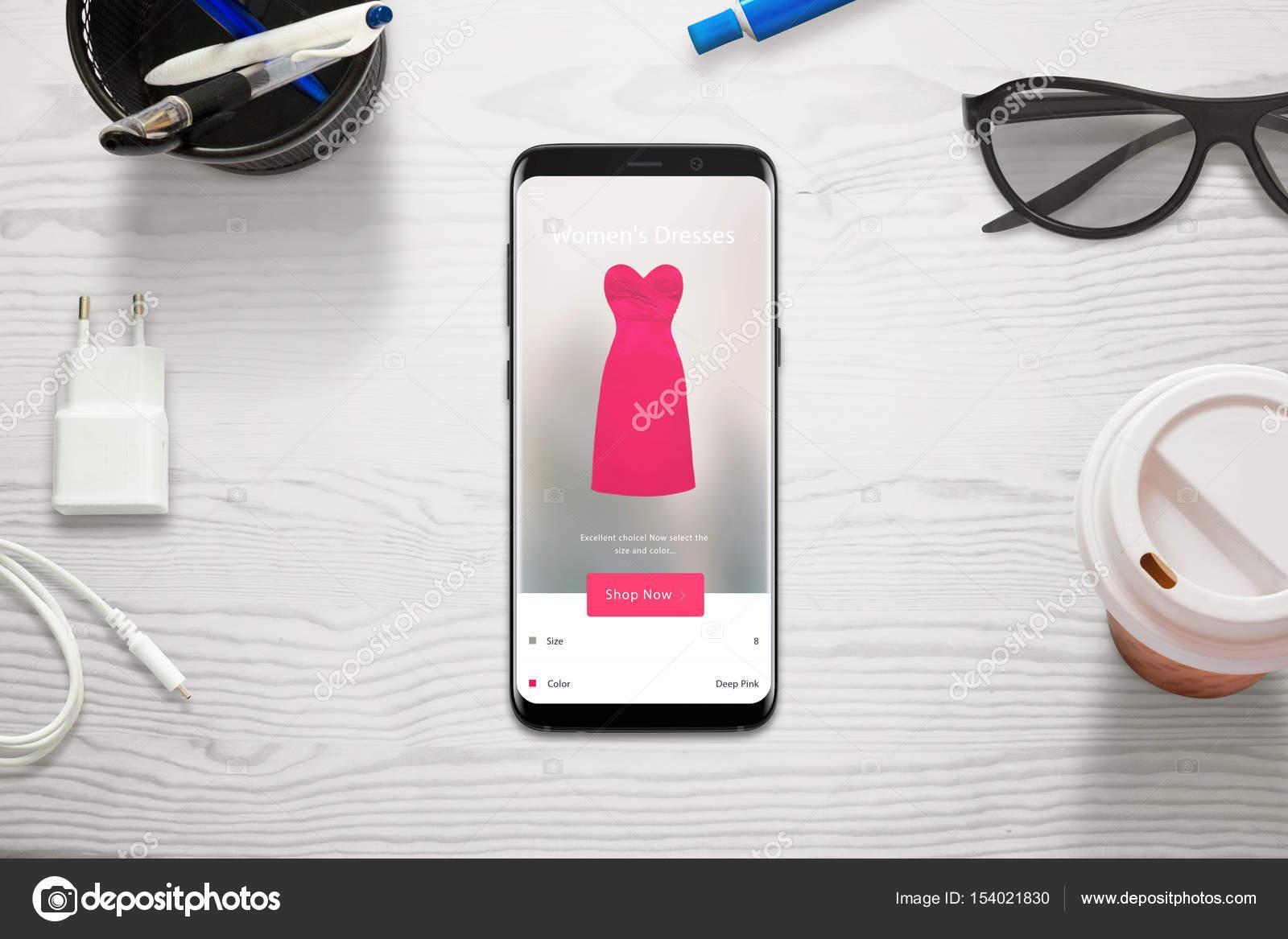 Online-Shopping mit einem Mobiltelefon  Frau zu wählen