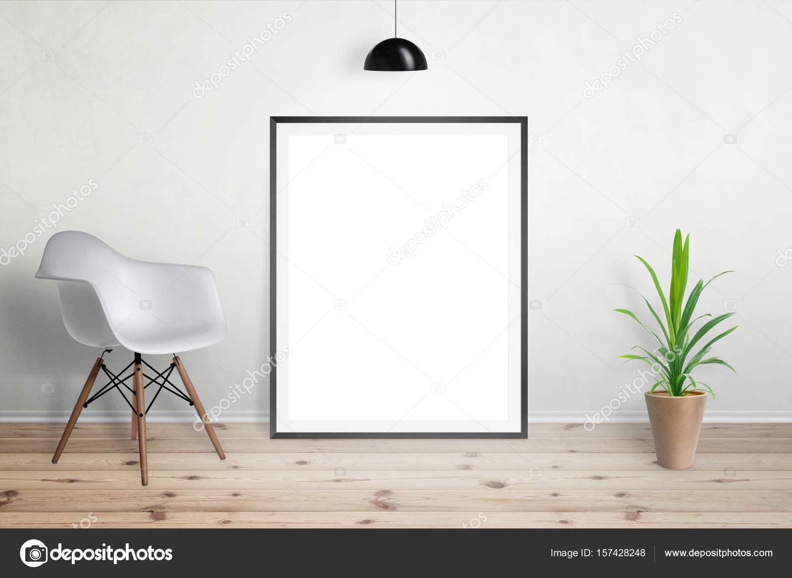 Bild-Frame-Modell. Wohnzimmer Innenraum mit Stuhl und Pflanze ...