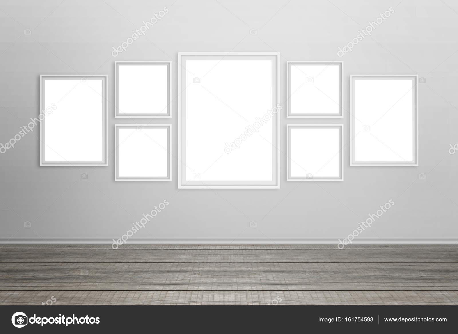 Leere weiße Rahmen an Wand. Für Modell isoliert — Stockfoto ...
