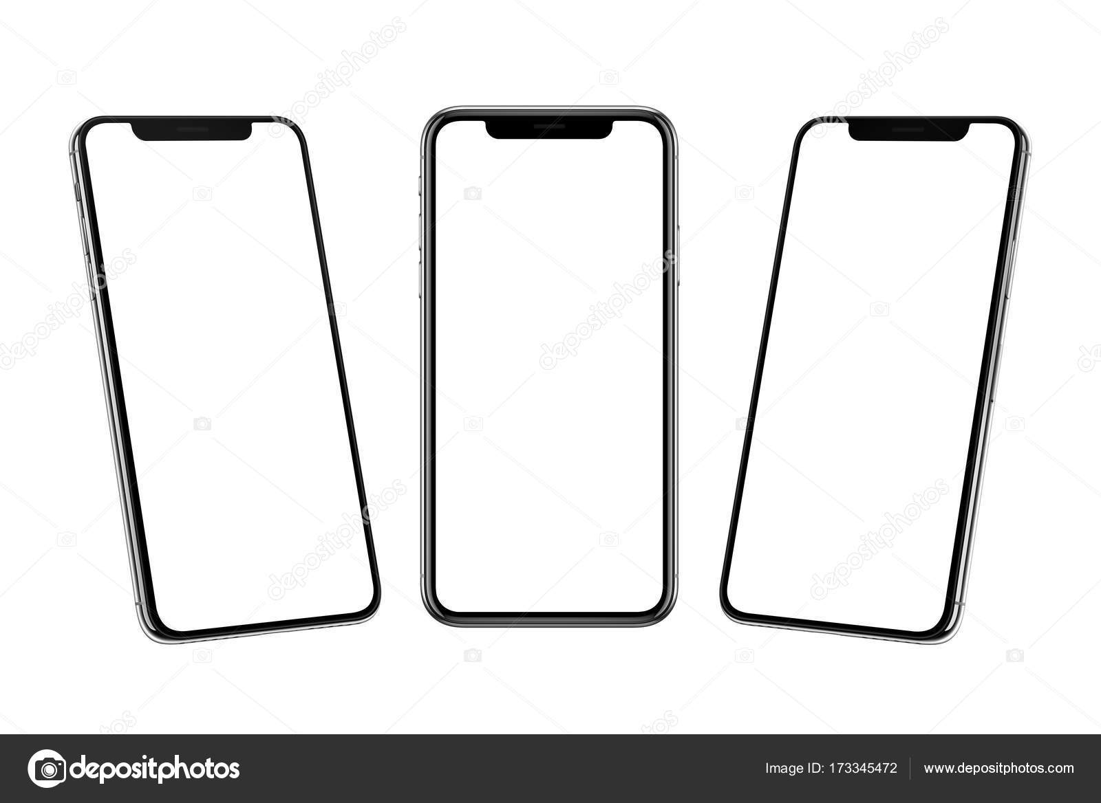 multiple smart phones with x curved screen in front left and right