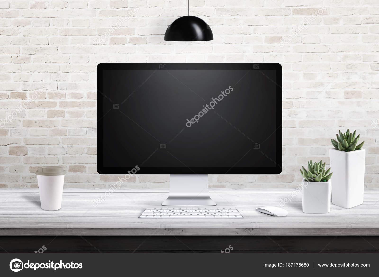 plastic office desk. Computer Display Modern Office Desk Plants Nad Plastic Cup Coffee \u2014 Stock Photo N
