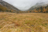 a piedi alla caduta in una giornata nuvolosa in una valle di montagna
