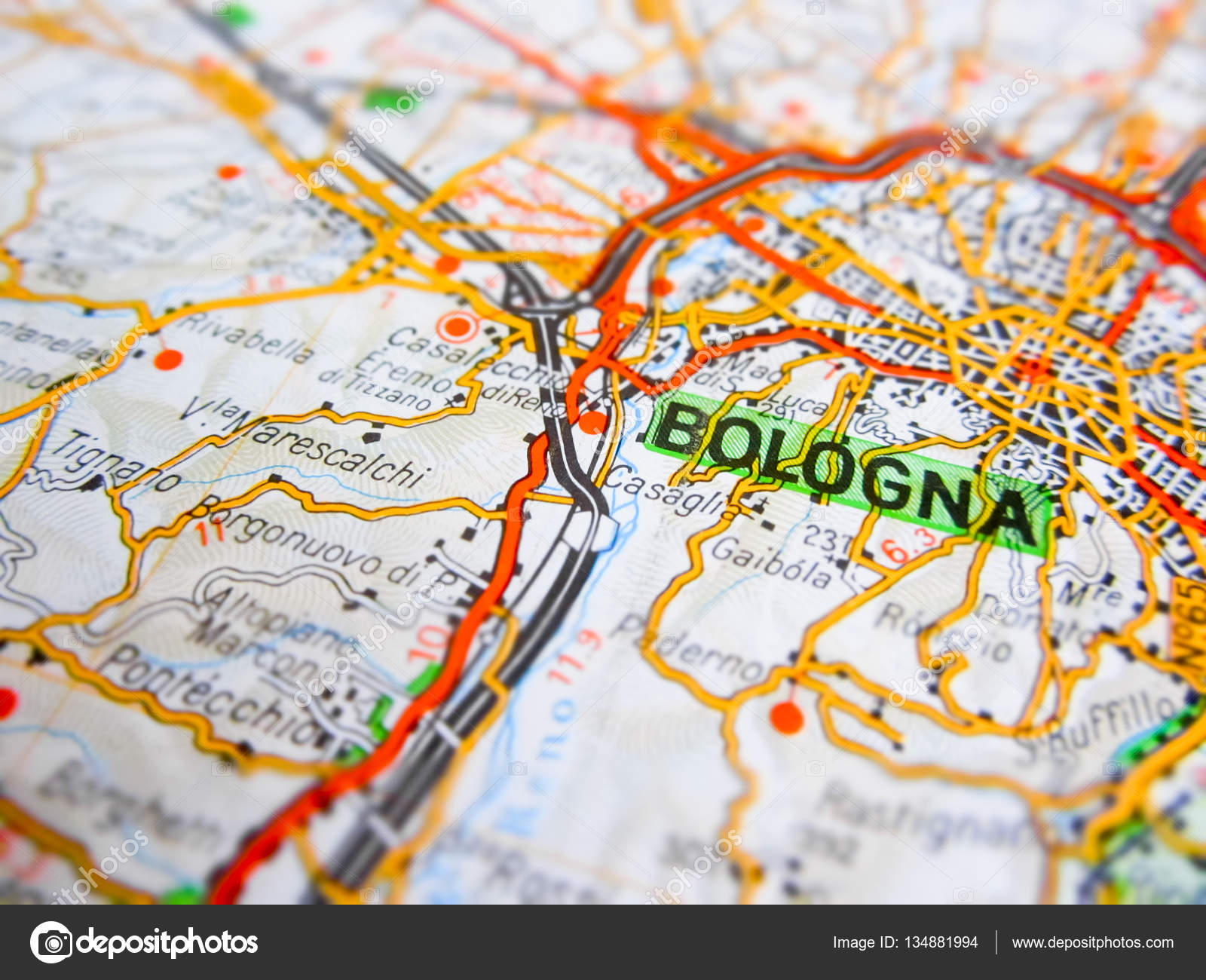 Bologna city over a road map (ITALY) — Stockfoto ... on