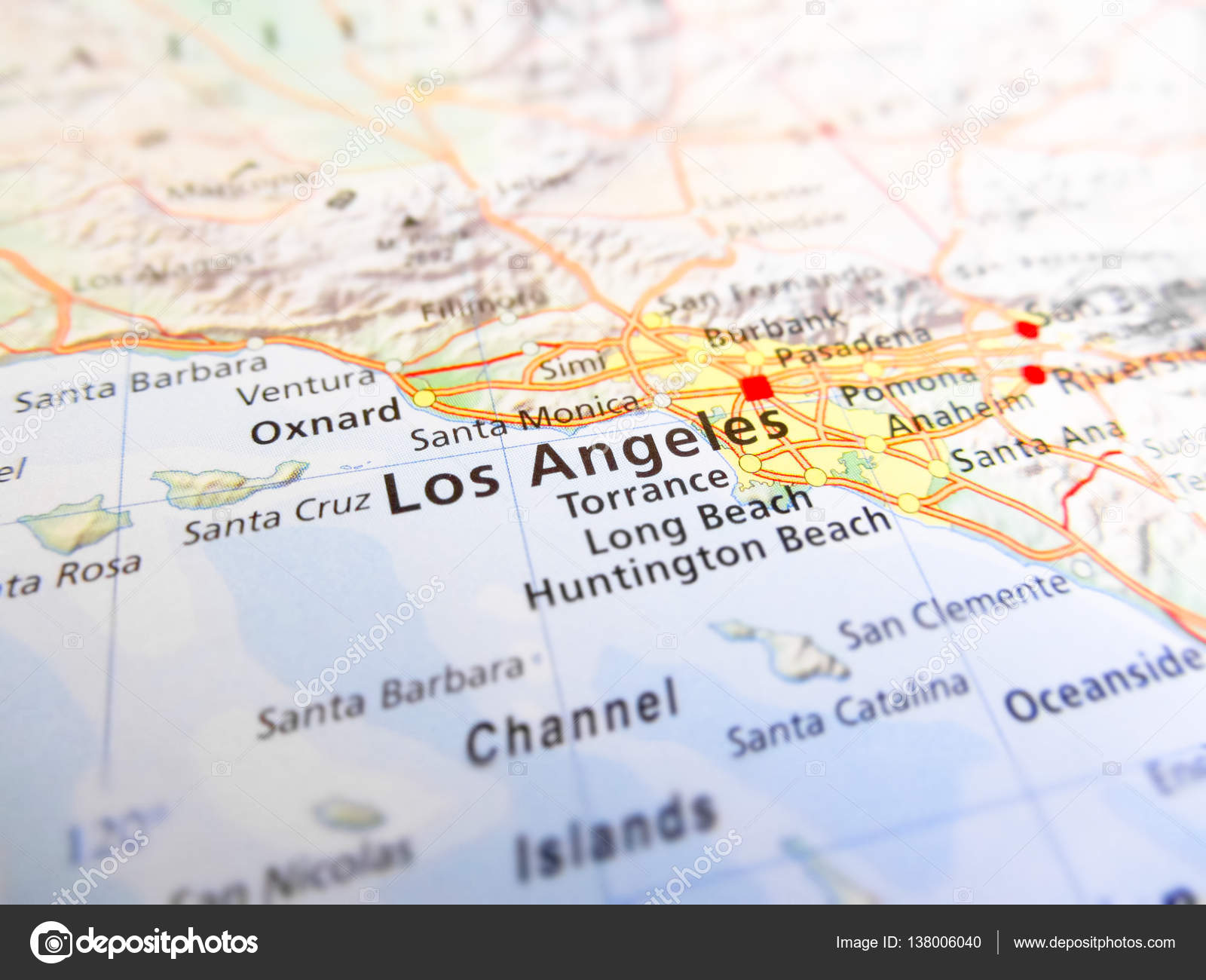 Los Angeles city over a road map (USA) — Stockfoto ...