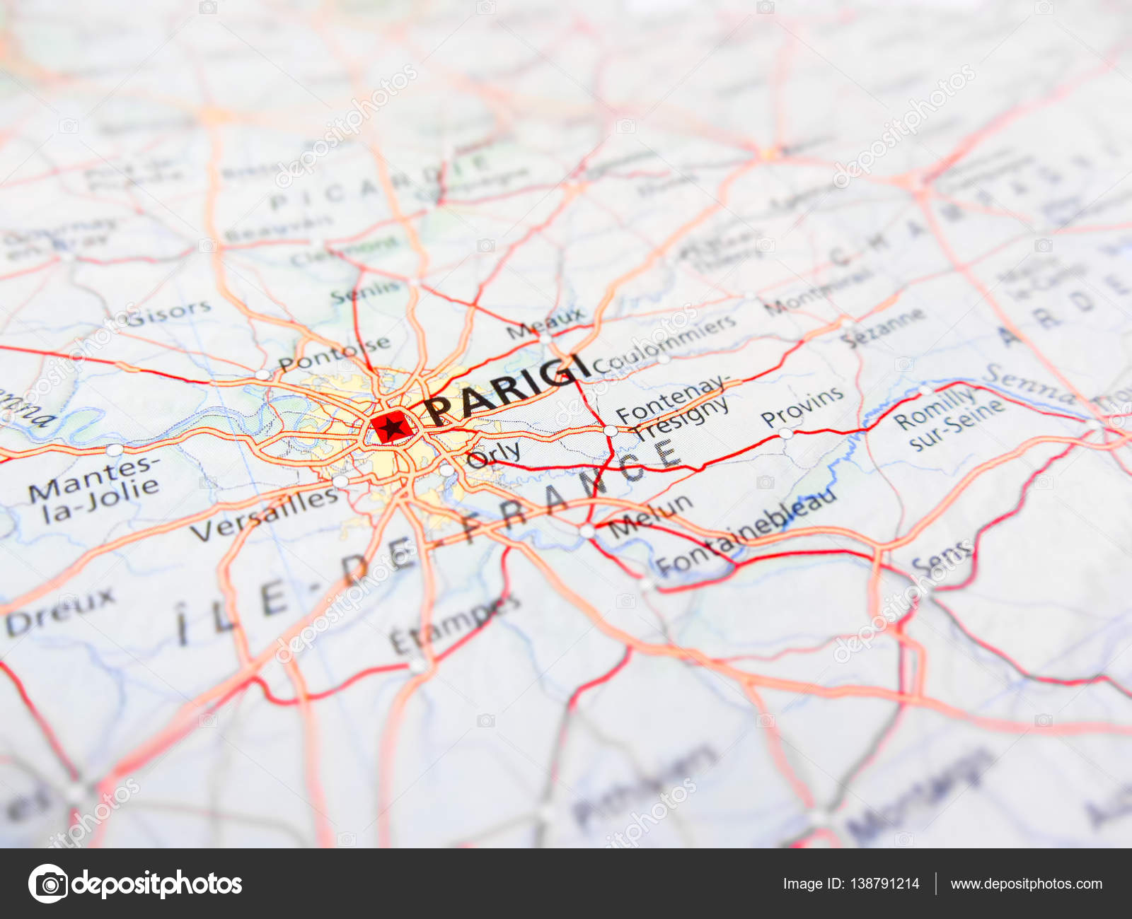 Road Map Of France.Paris City Over A Road Map France Stock Photo