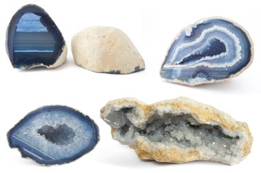 Section of a white and blue geodes