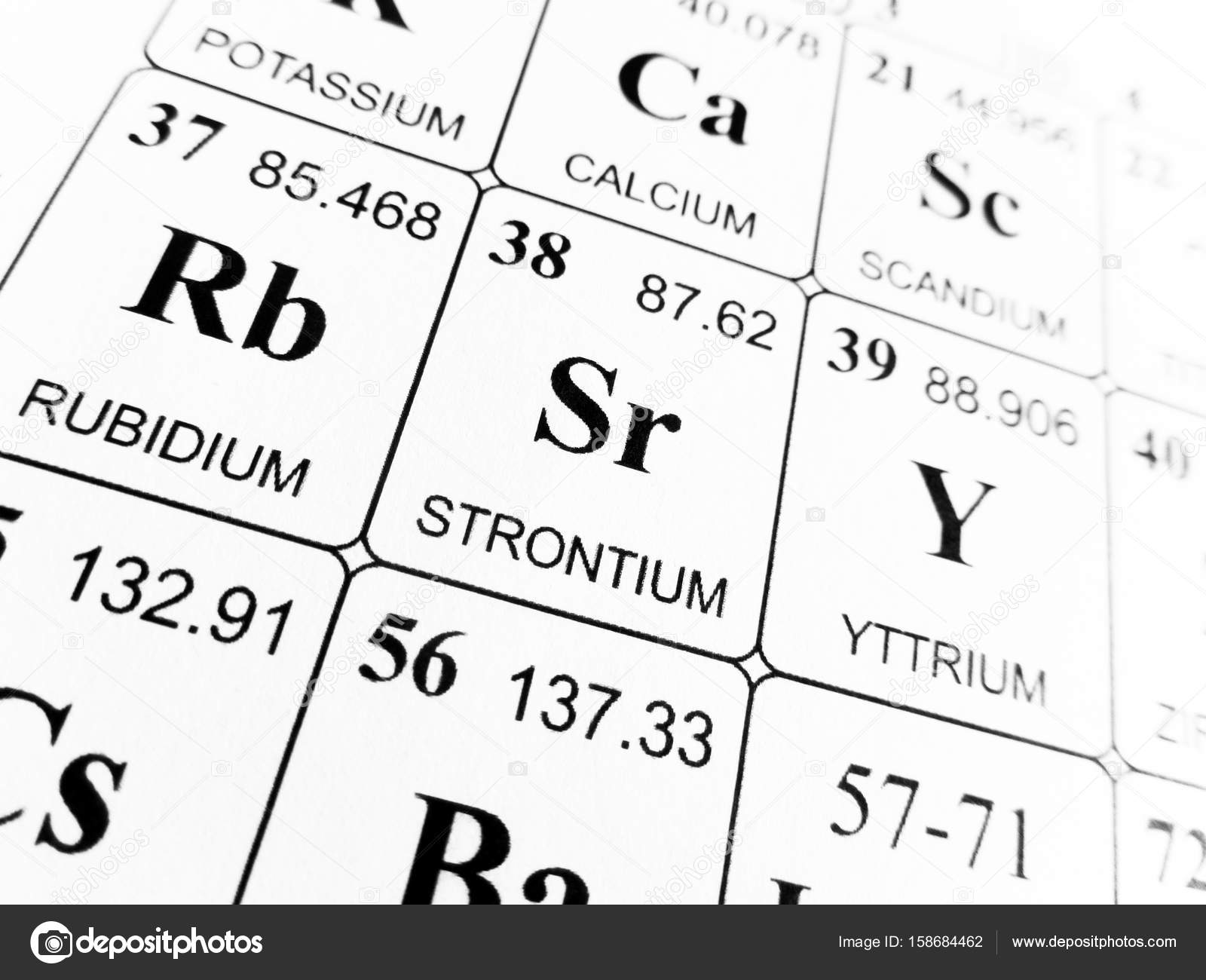 Strontium on the periodic table of the elements Stock
