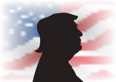 OCT, 2016: Donald Trump profile portrait silhouette on the US flag background. 45th  President  .
