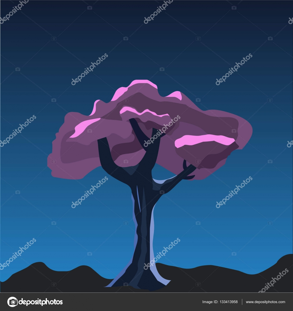 Purple Tree Cartoon 2d Game Vector Illustration Violet Tree In The Night Under The Moonlight Element For Your Game Or Halloween Design Stock Vector C Dima4to Gmail Com 133413958 Good night banner or poster background with owl birds at starry sky. depositphotos