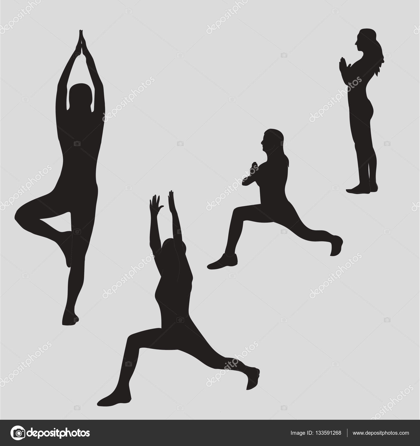 Woman Meditating In Different Yoga Poses Silhouette Zen Meditation Peace Warrior Tree Namaste Vector Illustration