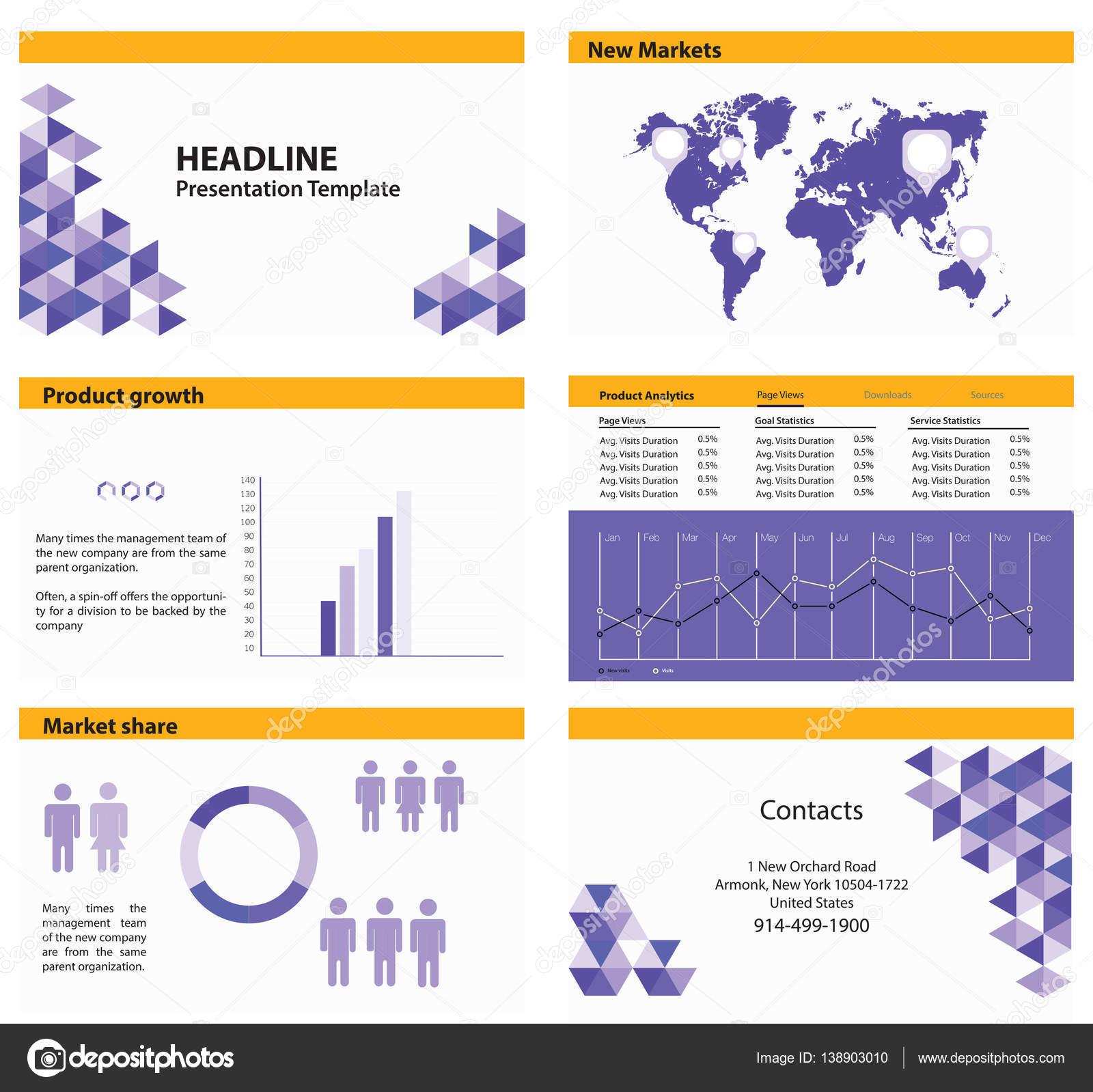 Präsentationsvorlage. Business-Infografik-Elemente. Legen Sie für ...