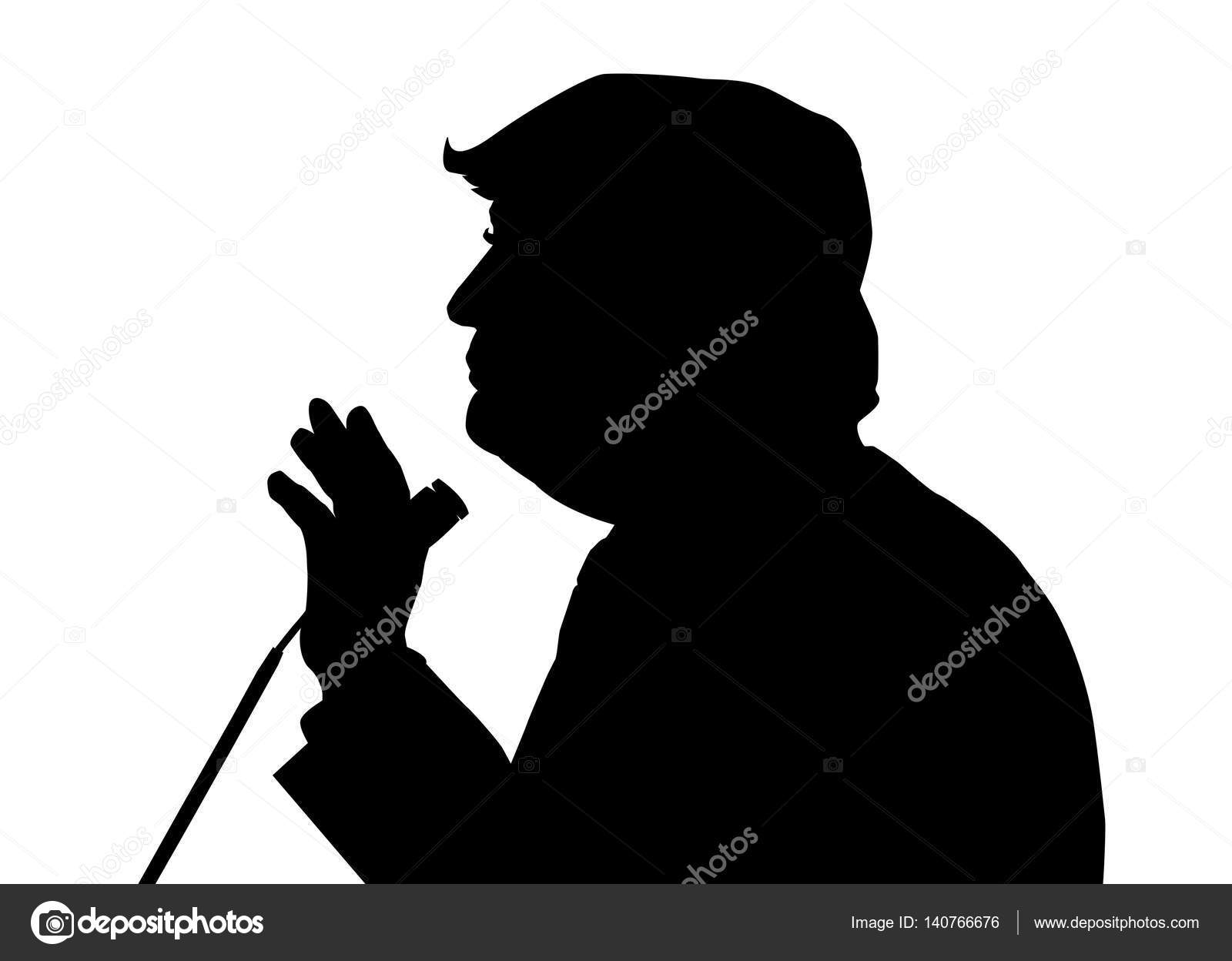 05, Feb, 2017: Donald Trump profile portrait silhouette on the white background. 45th US President Donald Trump with microphone speaking to the audience. — Stock Vector