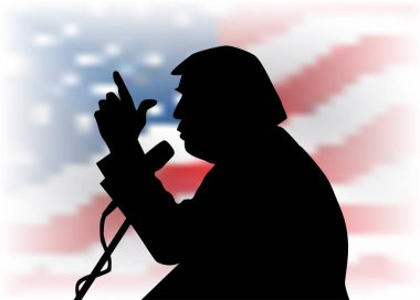 05, Feb, 2017: Donald Trump profile portrait silhouette on the US flag background. 45th US President Donald Trumpith microphone speaking to the audience.