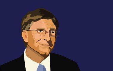 28 Feb, 2017 Bill Gates editorial illustration. Vector portrait on deep blue background
