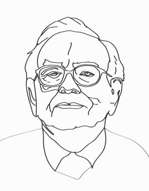 March, 2017: Investor and economist Warren Buffett forecasts stocks maket changes will continue to rise. Warren Buffett line portrait on light gray background, vector illustration.