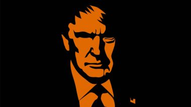 June: United States President Donald Trump vector portrait in orange and black colors. Trump vector silhouette.