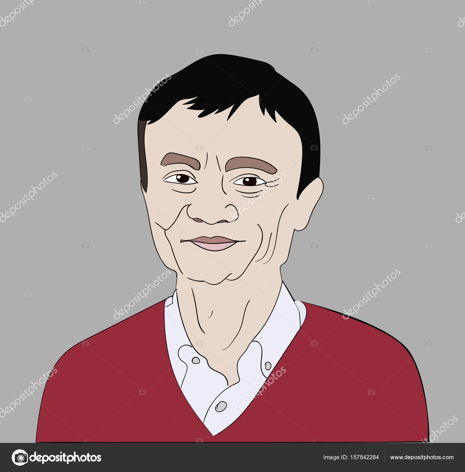 June 2017 Ceo And Entrepreneur Jack Ma Vector Portrait On A Gray