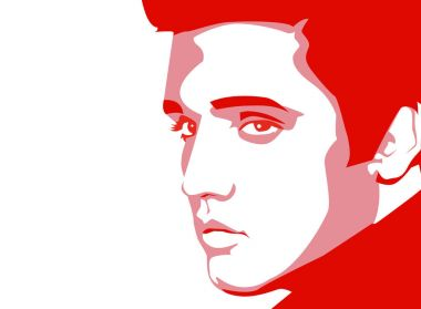 A vector linear portrait illustation of a singer Elvis Presley on a white background.A vector linear portrait illustration of a famous singer Elvis Presley on a white background.