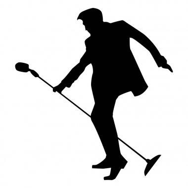 Dec, 2017: Dec, 2017: Famous singer Elvis Presley silhouette in black