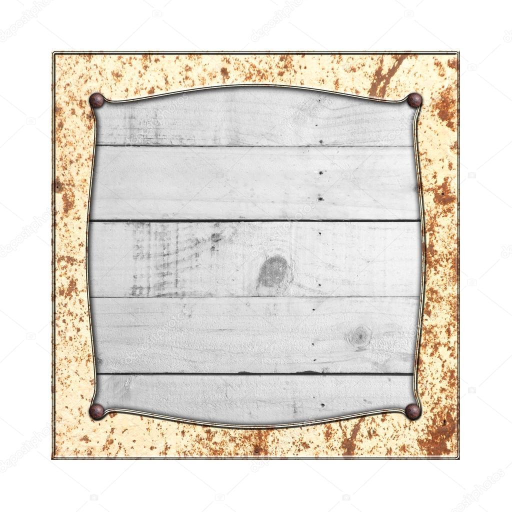 set 8. rusty metal frame on white rustic wood. — Stock Photo © koo ...