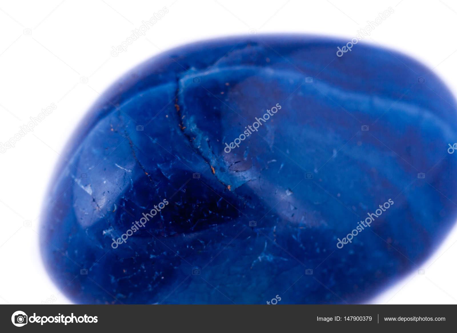 Makro Mineral Stein Blau Achat Auf Weissem Hintergrund Stockfoto