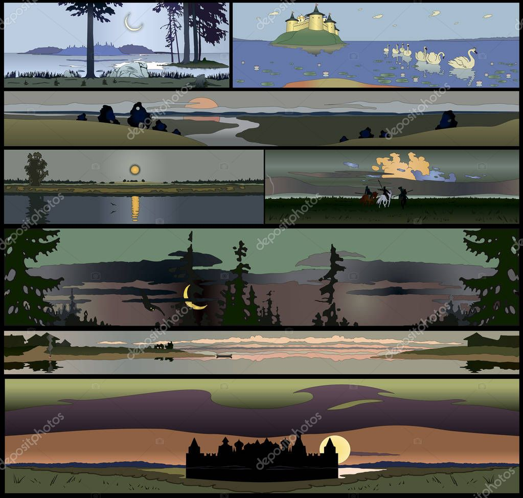 Set of 8 seamless panoramical landscapes