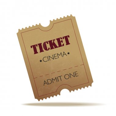 Vector old cinema crumpled ticket on white background.