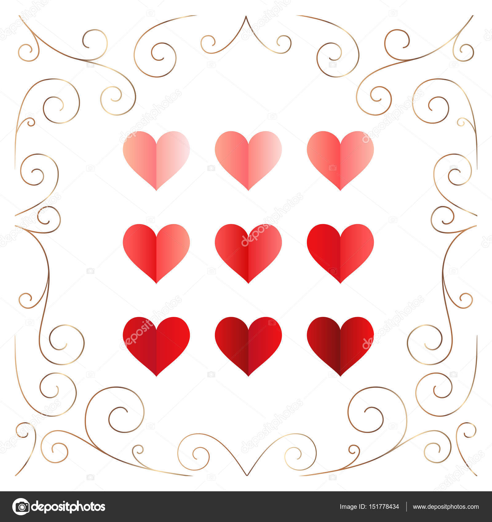 Vector Set Love Hearts Golden Frame — Stock Vector © join.ksenia ...