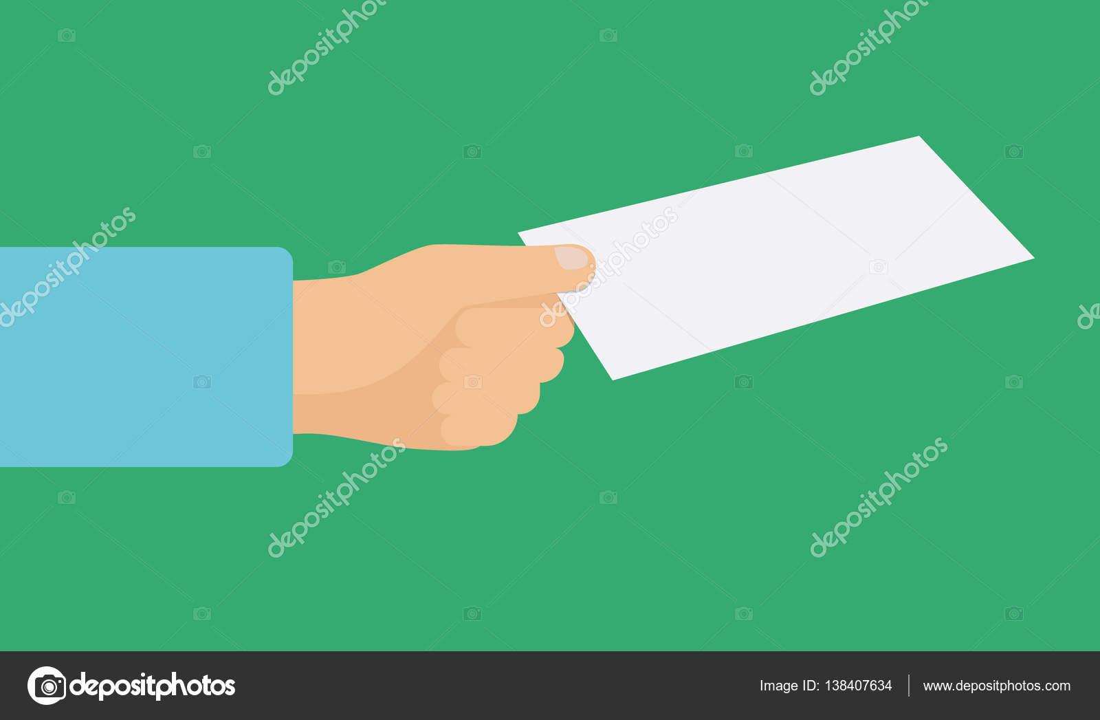Flacher Hand mit einem Flyer für Visitenkarten Identifikation Proben ...