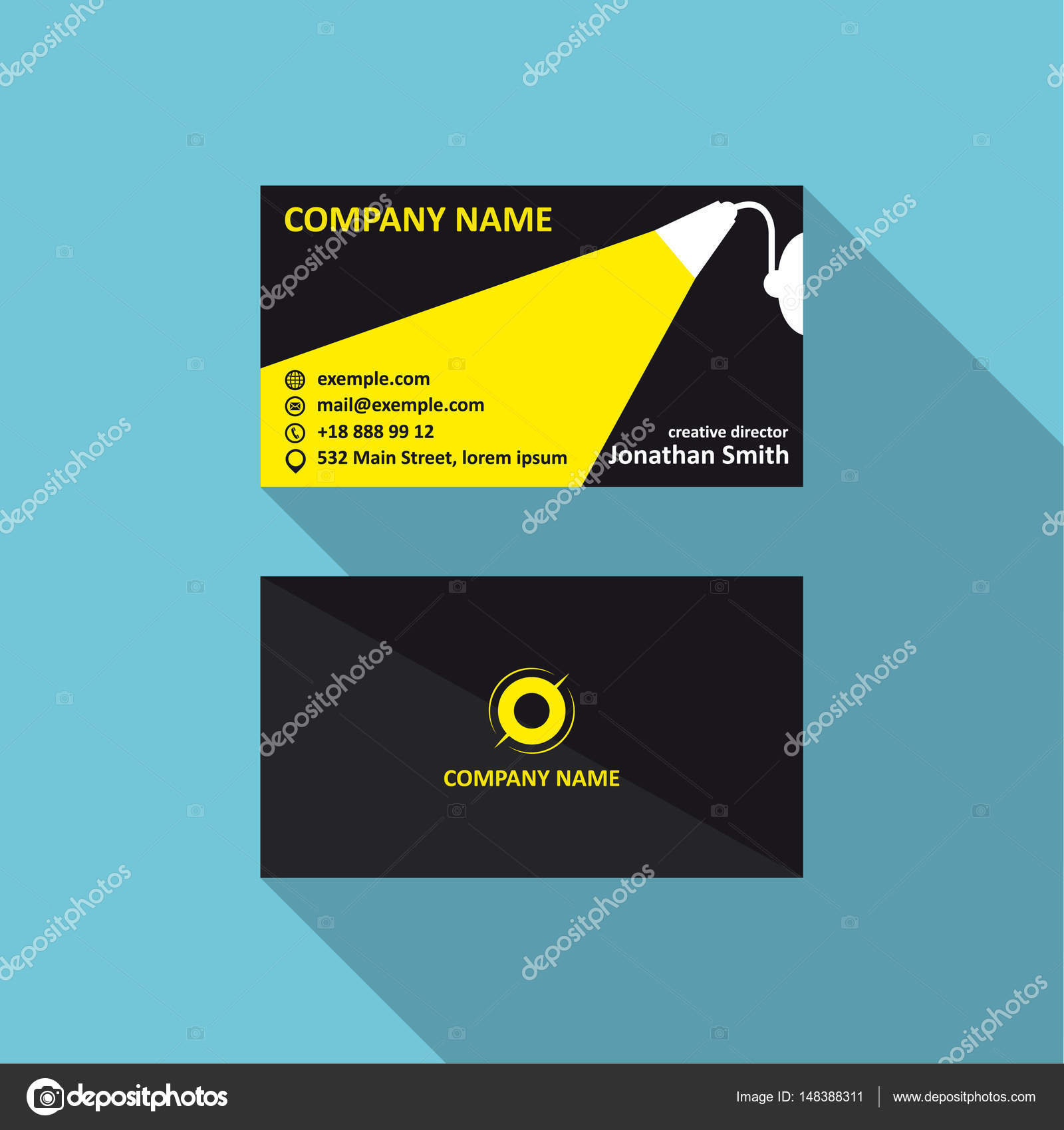Vector business card template with light concept corporae logo business card template with light concept corporae logo visit and phone number address vector illustration 90x50 proportions vector by vi73 reheart Choice Image