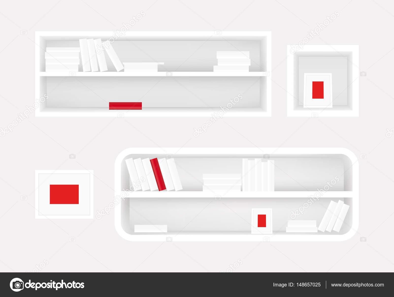 Hervorragend Weiße Bücherregal Und Foto Rahmen. Bücher Sammlung Mit Einem Roten Buch.  Realistische Vektor. Banner Design Für Möbel U2014 Vektor Von Vi73