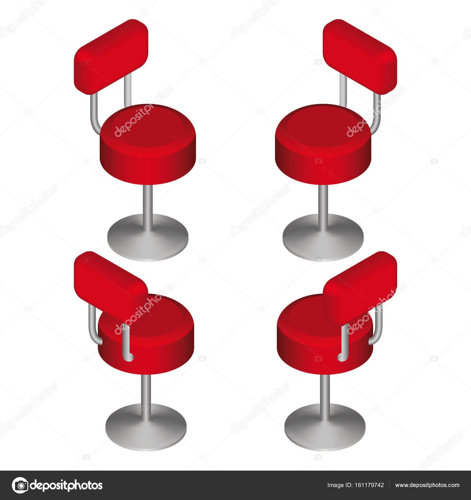 Chaises De Bar Rouge Isomtrique Dfinie Chaise Haute Illustration Vectorielle Image