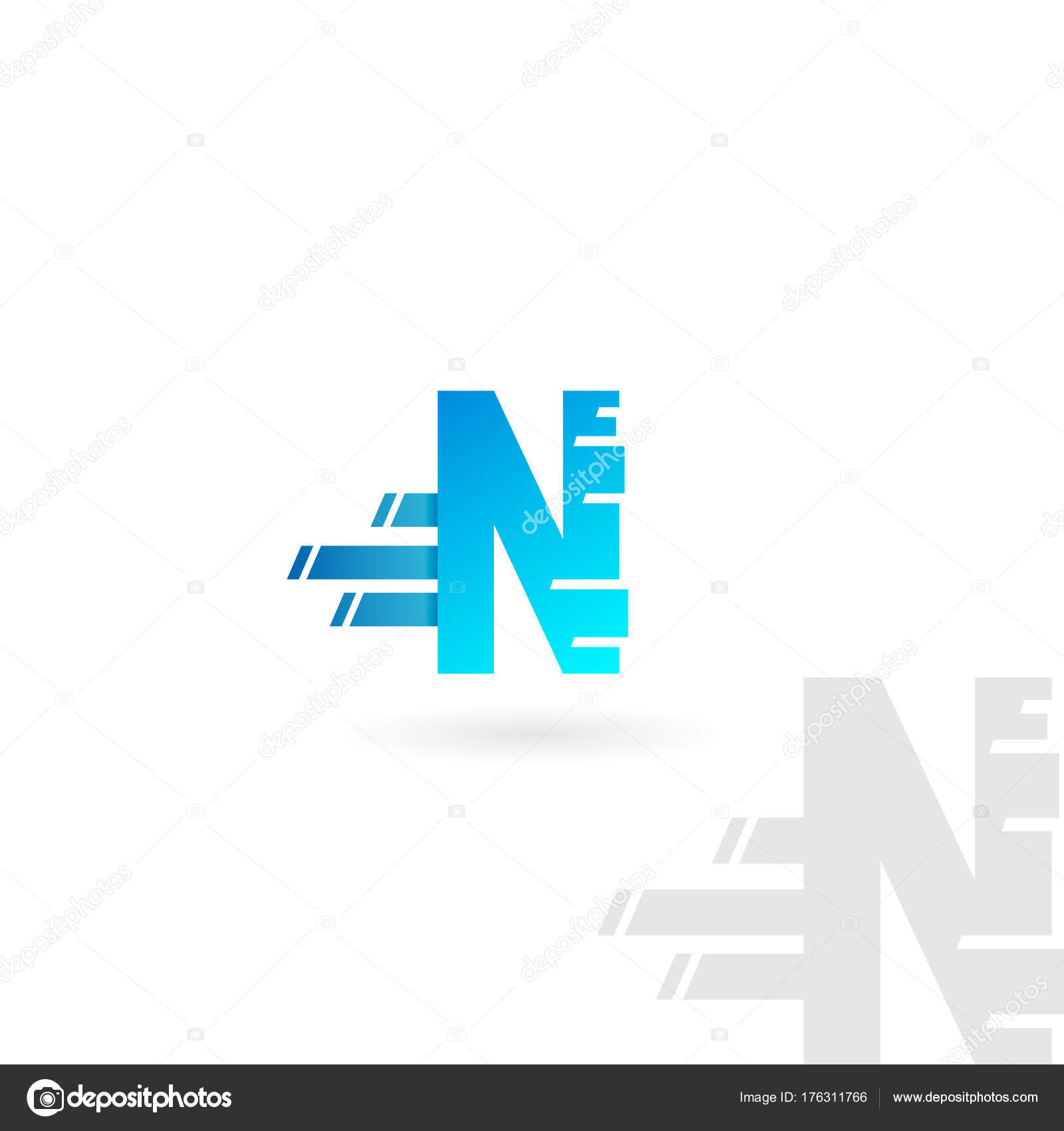 707ce2817 Logotipo da letra N. Ícone azul vector distorcida. Fonte do conceito de  velocidade —