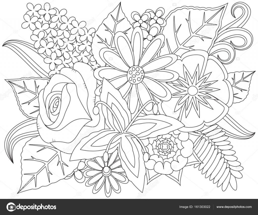çiçek Doodle Boyama Sayfası Stok Vektör Vectoramac 161303022