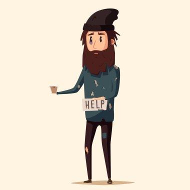 Sad unemployed beggar. Cartoon vector illustration