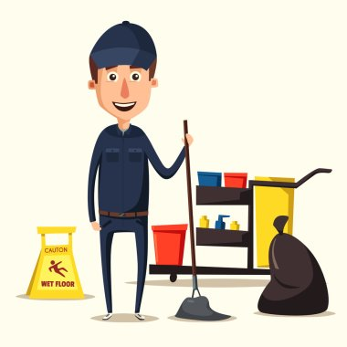 Cleaning staff character with equipment. Cartoon vector illustration.