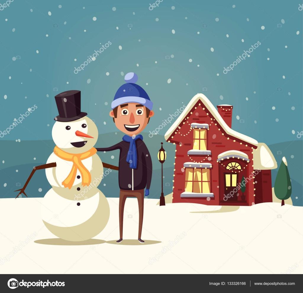 Maison de noël joyeux garçon et bonhomme de neige illustration de vecteur de dessin animé illustration de stock