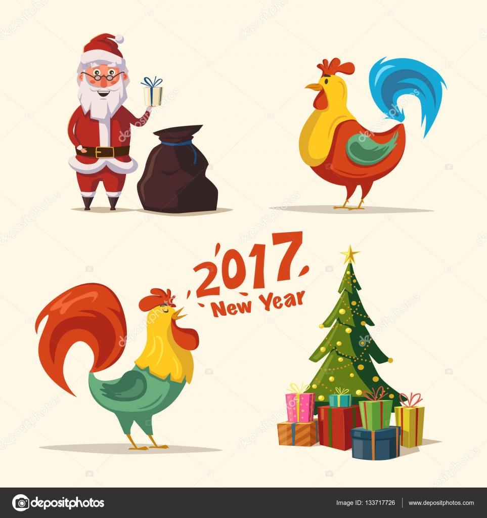 Illustration De Vecteur De Dessin Animé Père Noël Et Sapin