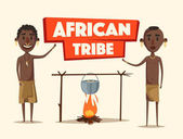 African people. Indigenous south American. Cartoon vector illustration.
