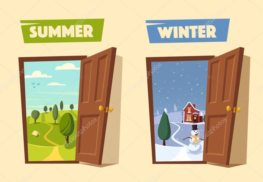Open door. Winter and summer. Cartoon vector illustration.