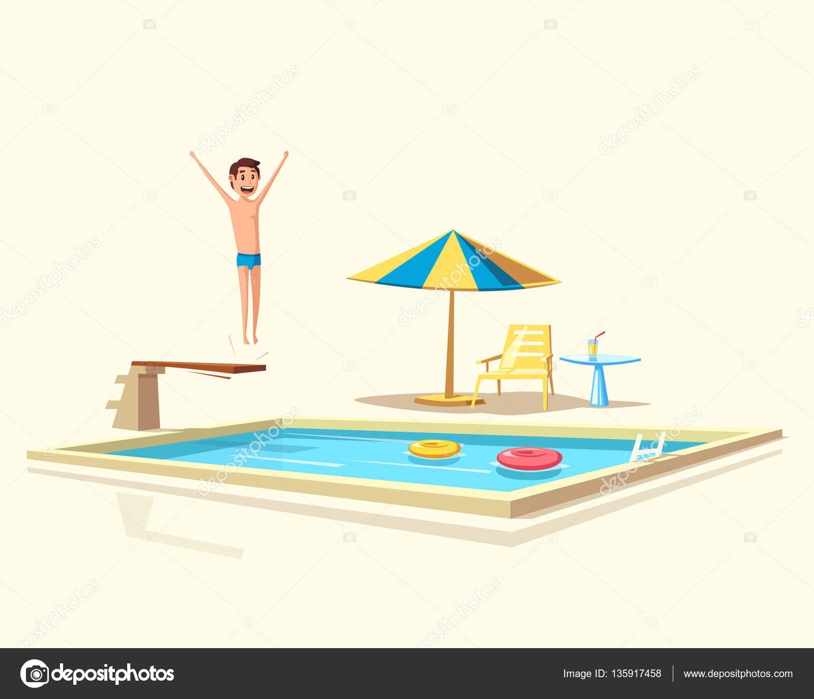 Homem pulando piscina com um trampolim ilustra o em for Trampolin para piscina
