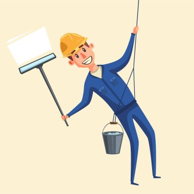 Profesional worker cleaning windows. Cartoon vector illustration