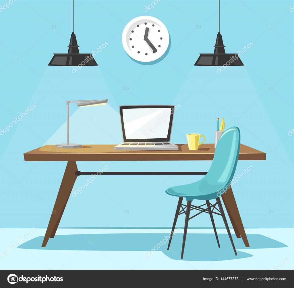 Lieu de travail moderne. Travail de bureau. Illustration de ...