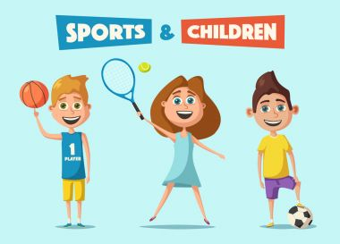 Little basketball, tennis and football players. Cartoon vector illustration